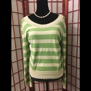 Long Sleeve Green stripe SWEATER- SIZE LARGE
